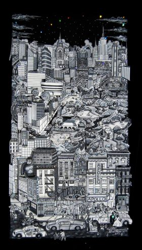 Image of New York City black and white pop art by Charles Fazzino