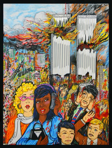 Fazzino's rendering of the tragedies of 9/11 in NYC