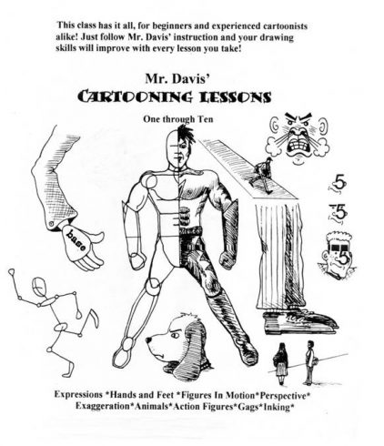 Image of the class intro flyer that describes what students will learn in Mr. Davis' cartoon class