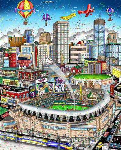 A Fazzino original of the 2014 all star game in Minneapolis, with the stadium and cit skyline drawn colorfully.