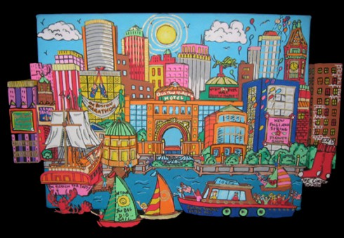 Colorful painting of Boston skyline and popular buildings with a blue sky and balloons overhead