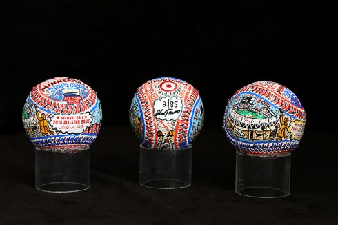 A composite image of the limited edition 2014 All-Star Game hand painted baseballs