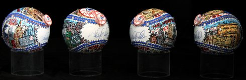 An image of Charles Fazzino's colorfully hand painted MLB All Star baseballs, autographed by Derek Jeter