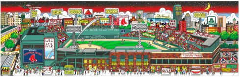 A colorful painting of Fenway Park in Boston
