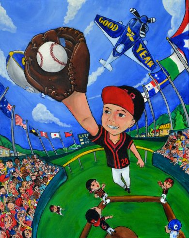 A young boy jumps up to catch a baseball in this colorful Fazzino inspired baseball artwork