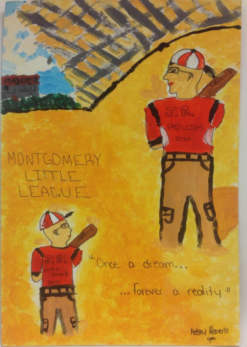 Artwork done by Kelsey Roberts showing a professional baseball player as a little league player