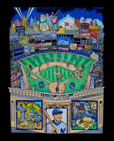 Image of a colorful piece of artwork created by Charles Fazzino, baseball themed to celebrate Derek Jeter's legendary career