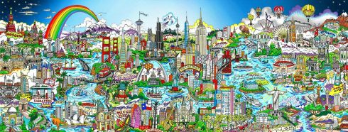 Image of Charles Fazzino's very detailed and colorful mural of all his favorite cities in the world.