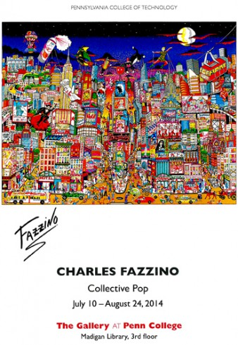 Image of the invitation to see Charles Fazzino's gallery at Penn College