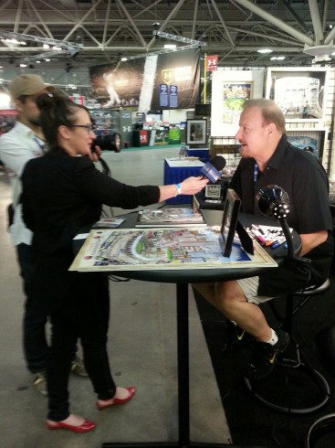 Charles Fazzino on camera answering questions about his artwork from MLB.com's Tara Gore.