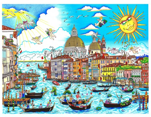 Cityscape artwork created by Charles Fazzino of Venice, Italy