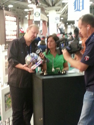 Fazzino being interviewed by Marney Gellner on FOX Sports North about his MLB ASG pop art.