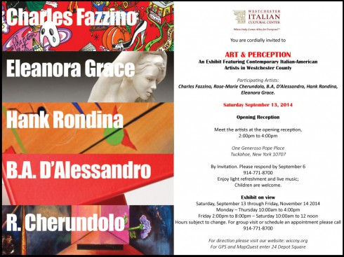 Image of the invitation to the Charles Fazzino art exhibition Art & Perception at the Westchester Italian Cultural Center