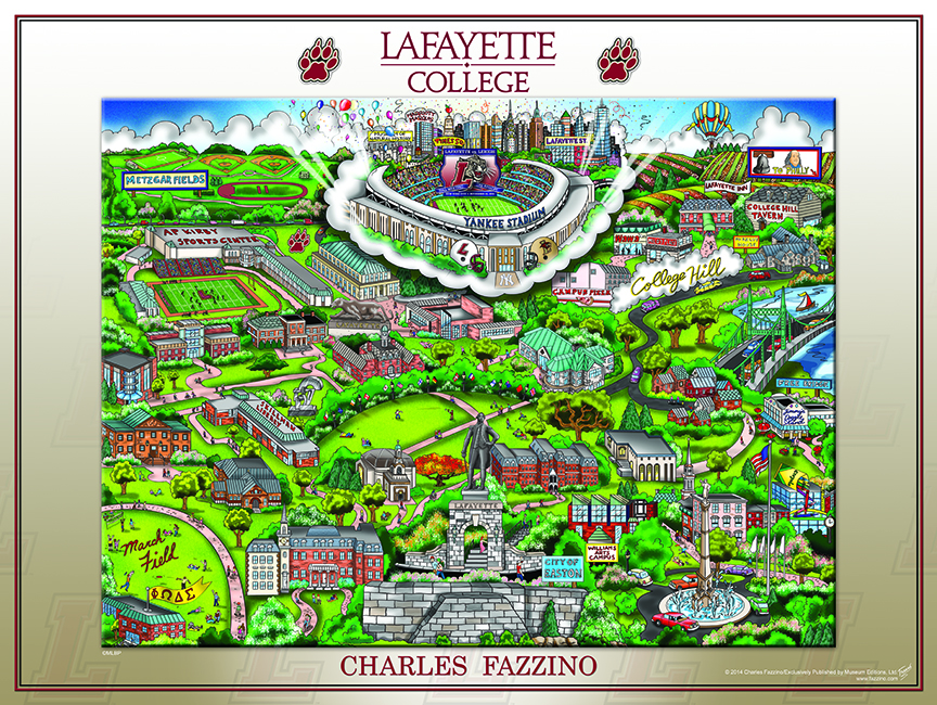 Image of the commemorative pop art piece created by Charles Fazzino, celebrating Lafayette College