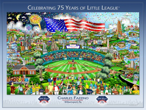 Image of the artwork created by Charles Fazzino for the Little League's 75th anniversary celebration