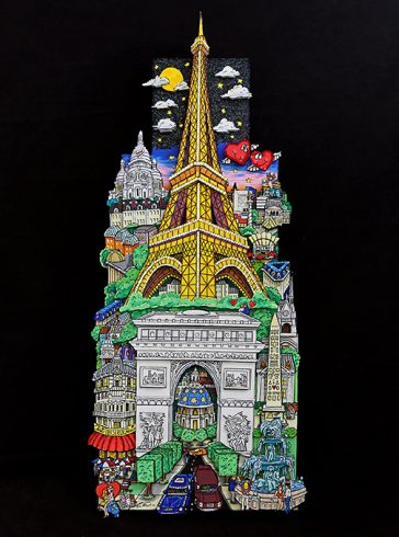 Pop art piece of Paris and the Eiffel Tower on black background