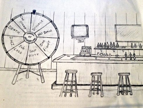 Line drawing of a bar with a large game wheel, called the Wheel of Misfortune