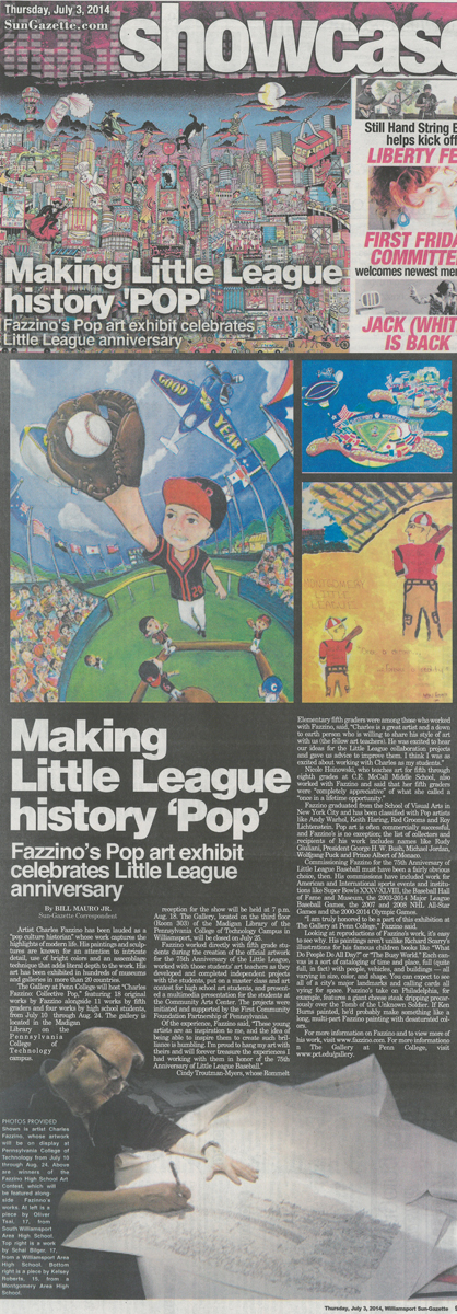 Williamsport Sun Gazette article clipping about the Little Leagues 75th anniversary celebration