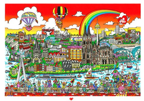 "3D Pop Artist Charles Fazzino's Germany-inspired piece, ""For the Love of Koln."""