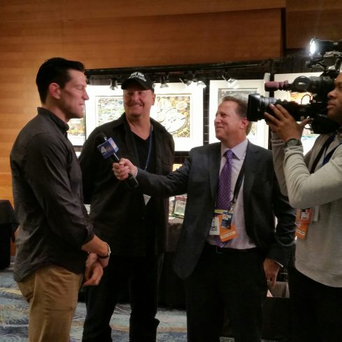 NY Giant Steve Weatherford, Fazzino, and NBC 4's Bruce Beck
