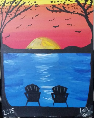 Fran Kessler artwork from a Paint Party depicting two chairs surrounded by trees as the sunsets in the background