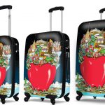Luggage set featuring Fazzino's The Big Apple artwork