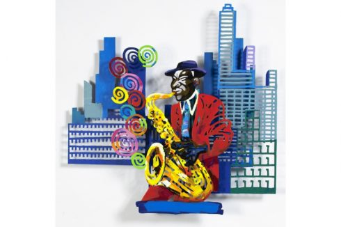 David Gerstein colorful artwork of a saxophonist in front of a cityscape