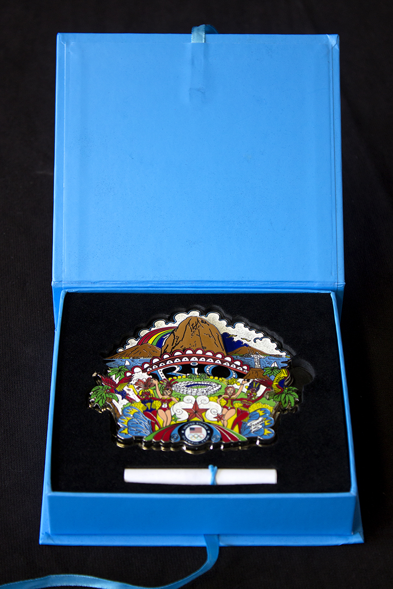 RIO Olympics limited edition collectors pin in a blue satin box.