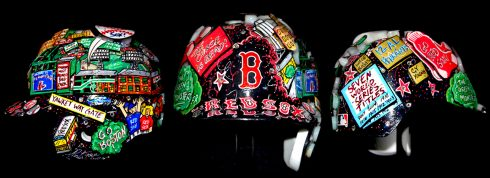 The 2017 All-Star Game hand-painted baseball helmets showing them from all sides