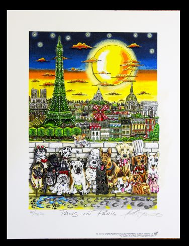 Charles Fazzino's, Paws in Paris contest winners piece, featuring Munster, Mr. Fancy Pant and Georgie