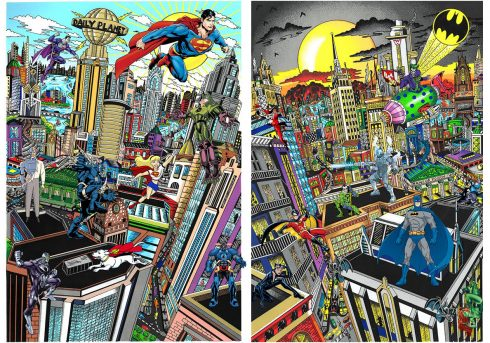 """New Fazzino Artwork to be unveiled at Wentworth Gallery: """"Superman Saves the Day"""" and """"Batman Rules the Night"""""""