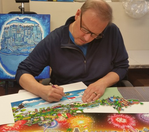 Charles Fazzino using an x-acto knife on one of his latest 3D pop art piece