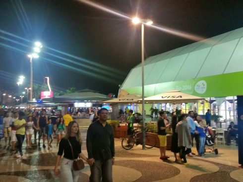 The Olympic MegaStore on Copacabana Beach in Rio De Janeiro for the 2016 Summer Olympic Games.
