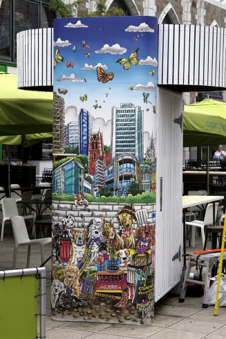 Downtown Dogs in Stamford, a Stamford Kisok designed by Charles and Heather Fazzino
