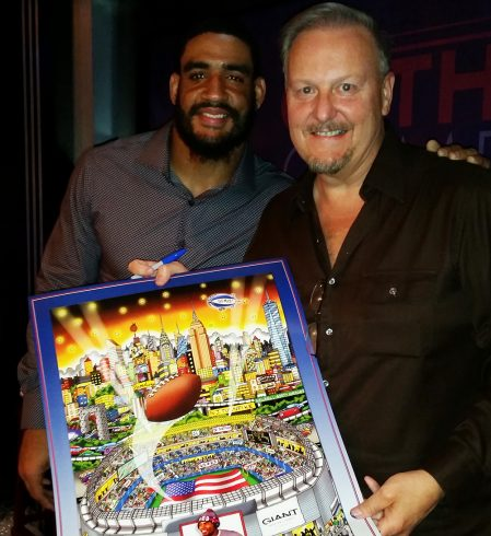Fazzino with NY Giant Olivier Vernon