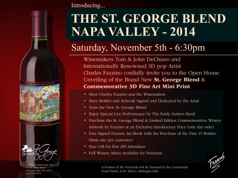 St. George Blend Napa Valley 2014 flyer featuring Charle Fazzino's artwork