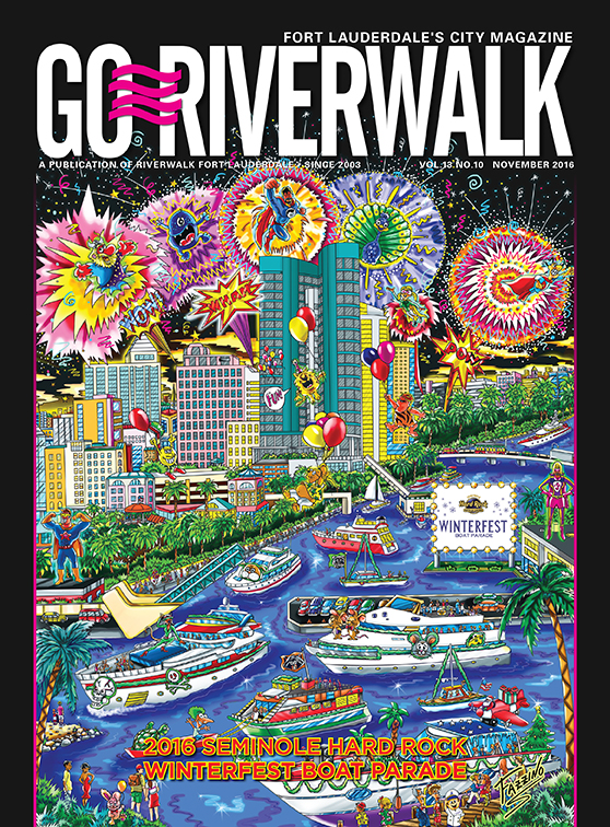 Go Riverwalk poster Winterfest Boat Parade 2016 Fort Lauderdale, done by Charles Fazzino