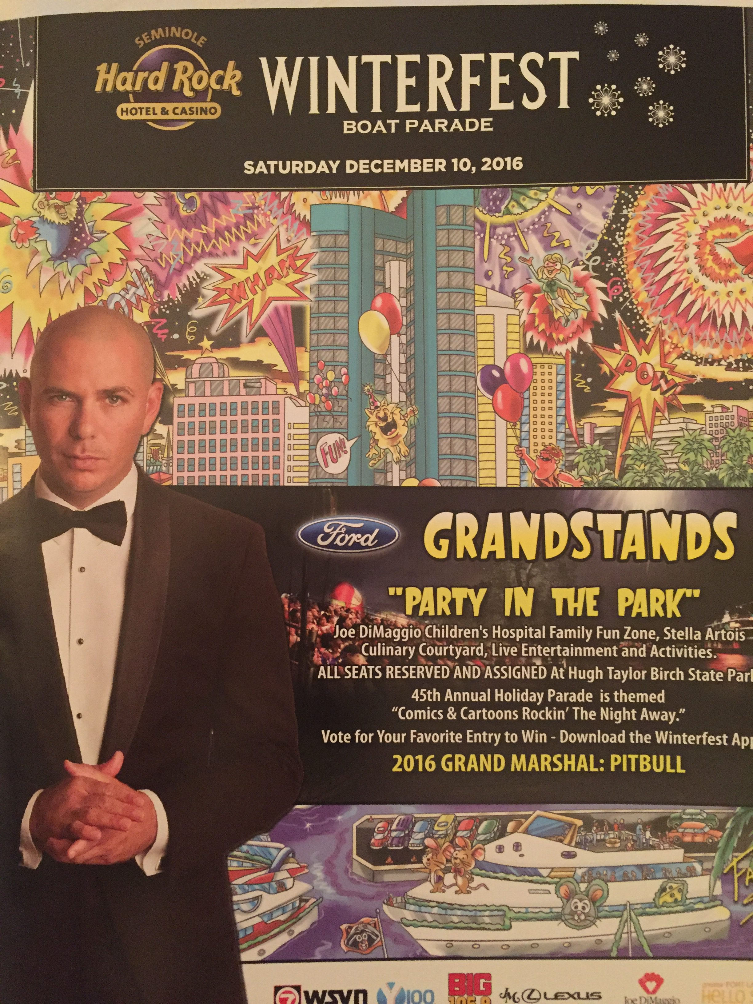 Grand Marshall Pitbull will be at Ft. Lauderdale's Winterfest Boat Parade 2016