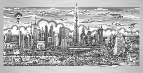 "Charles Fazzino ""Illusions of Dubai"" piece on aluminum"