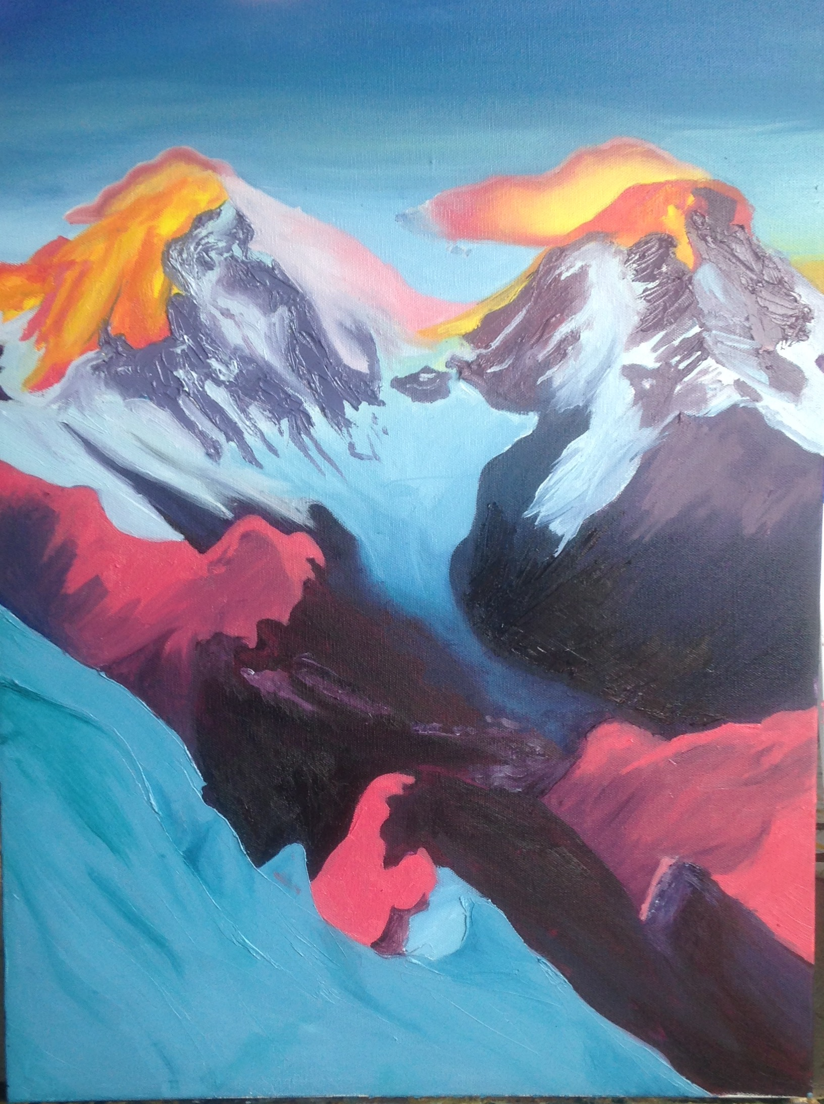 Charles Fazzino featured artist Rachel Herz - colorful mountain painting