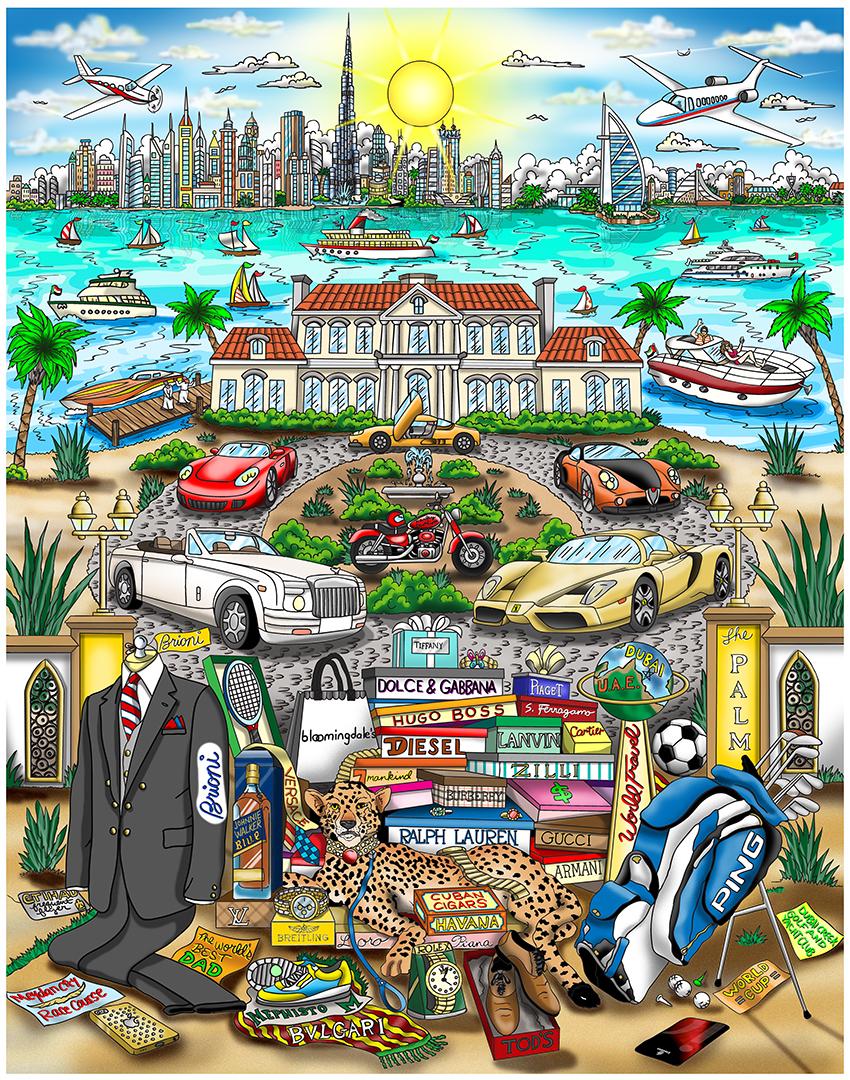 """What A Guy Wants in Dubai"" by 3D Pop Art artist Charles Fazzino"