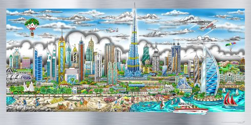 """Illusions of Dubai"" by 3D Pop Art artist Charles Fazzino"