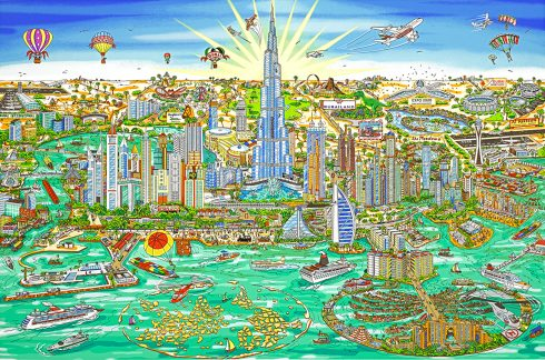 """The Wonderful World of Dubai"" by 3D Pop Art artist Charles Fazzino"