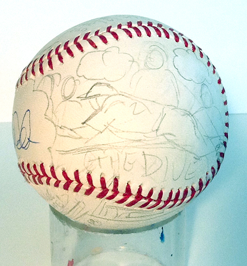 A pencil drawing sliding into base on a Fazzino baseball