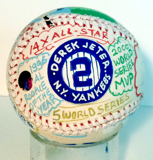 The text side of the baseball gets colored