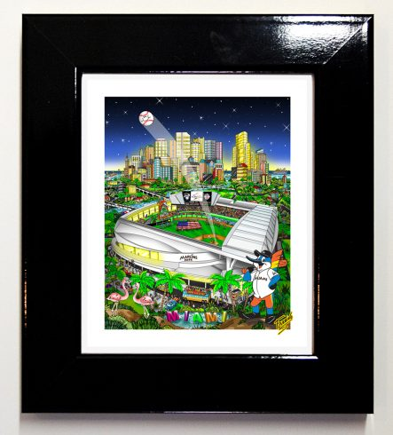 The 2017 All-Star Game mini print featuring the Marlins home stadium in Miami Florida