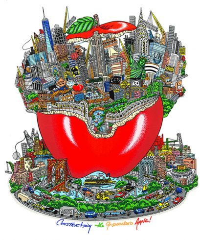 """Constructing the Gridlocked Apple"" by 3d pop artist Charles Fazzino"