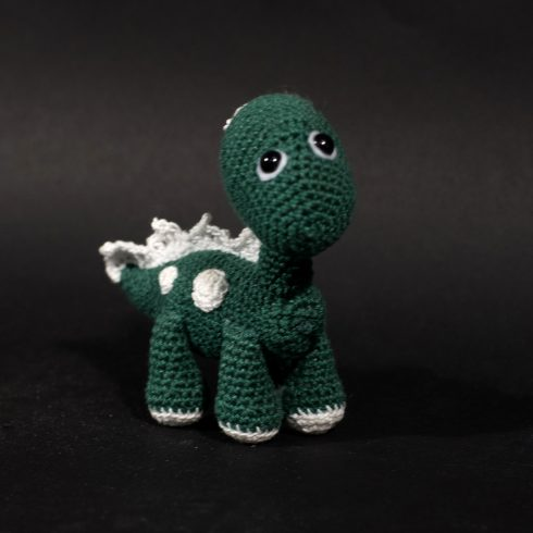 Green and white crocheted dinosaur | Christina's Crocheted Characters