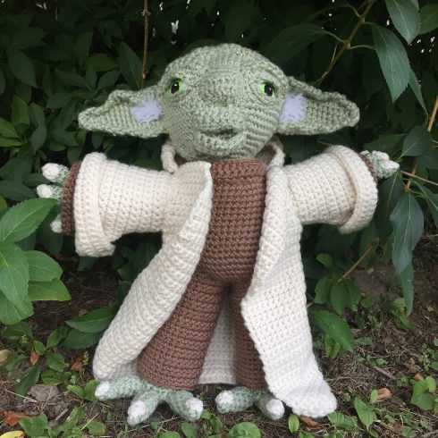 """Crocheted Yoda from """"Star Wars"""" movie 