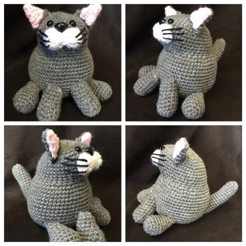 Grey and white collage of crocheted cats | Christina's Crocheted Characters